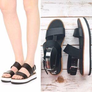 """VINCE """"Mana"""" Leather Flatform Black/White Sandals"""